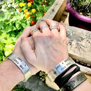 Hand stamped adjustable metal cuff bracelet set